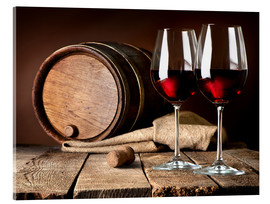 Acrylic print  Barrel and Wine Glasses with Red Wine