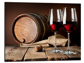 Aluminium print  Barrel and Wine Glasses with Red Wine