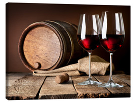 Canvas print  Barrel and wine glasses with red wine