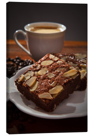 Canvas print  brownie and hot coffee