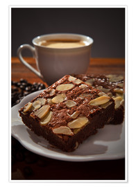 Premium poster brownie and hot coffee