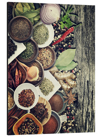 Aluminium print  Spices And Herbs On Rusty Old Wood