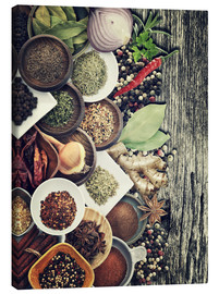 Canvas print  Spices And Herbs On Rusty Old Wood