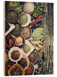 Wood print  Spices And Herbs On Rusty Old Wood