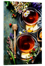 Acrylic print  Herbal tea with honey, berry and flowers