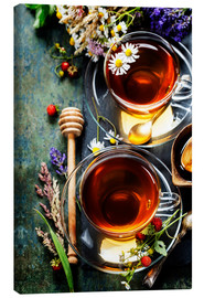 Canvas  Herbal tea with honey, berry and flowers