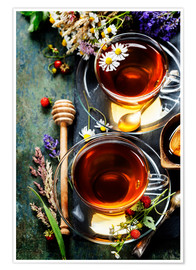 Premium poster Herbal tea with honey, berry and flowers