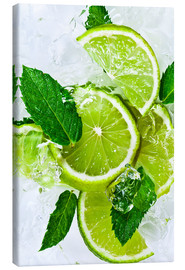 Canvas print  lime slices with ice and peppermint leaves