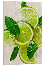 Wood print  lime slices with ice and peppermint leaves