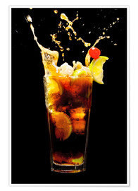 Premium poster  Cuba Libre Cocktail with splash