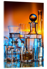 Acrylic print  alcoholic drinks on glass table