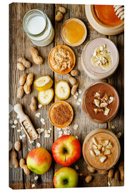 Canvas print  peanut butter smoothie with chocolate, apples, banana and oats