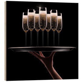 Wood print  Tray of Champagne