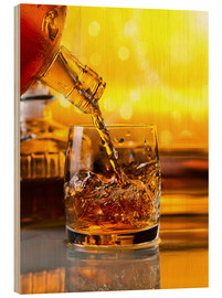 Wood print  Whiskey with ice