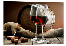 Acrylic print  Wine and barrel on a wooden table