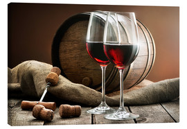 Canvas print  Wine and barrel on a wooden table