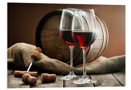 Foam board print  Wine and barrel on a wooden table