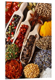 Foam board print  Colorful aromatic spices and herbs