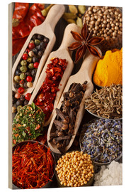 Wood print  Colorful aromatic spices and herbs
