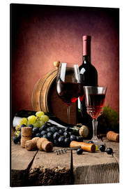 Aluminium print  Red wine with grapes and corks