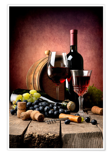 ad18bd59f Red wine with grapes and corks Posters and Prints