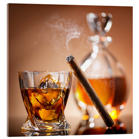 Acrylic print  Cigar on glass of whiskey with ice cubes