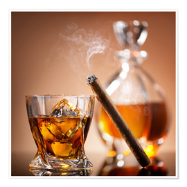 Premium poster  Cigar on glass of whiskey with ice cubes