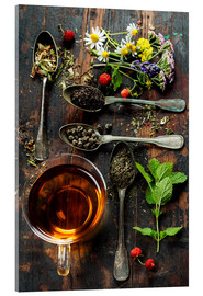Acrylic print  Tea with honey, wild berries and flowers