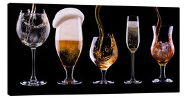 Canvas print  alcohol drinks on black