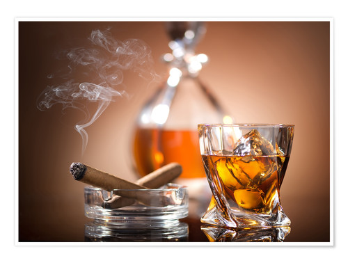 Premium poster Glass of Whiskey and a Cigar