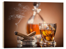 Wood print  Glass of Whiskey and a Cigar