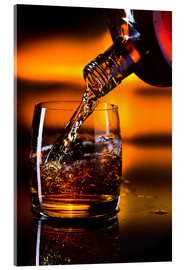Acrylic print  whiskey and ice on a glass table