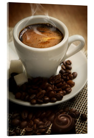 Acrylic print  Small cup of strong coffee