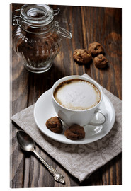 Acrylic print  Cup of coffee with cookies