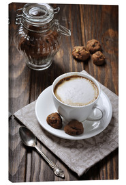 Canvas print  Cup of coffee with cookies