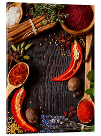 Acrylic print  Hot spices and herbs