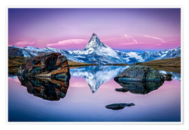 Premium poster Stellisee and Matterhorn in the Swiss Alps