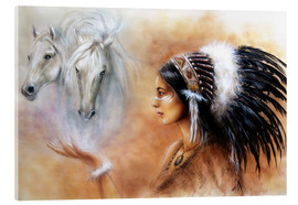 Acrylic glass  American Indian with horses