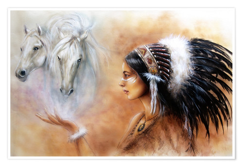 Premium poster American Indian with horses