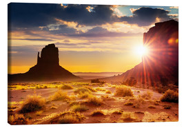 Canvas  Sunset at the sisters in Monument Valley, USA