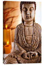 Canvas  Buddha statue with candles