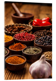 Acrylic print  Colorful spices in bowls