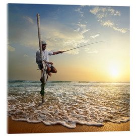 Acrylic print  fisherman on stick on Indian ocean, Sri Lanka