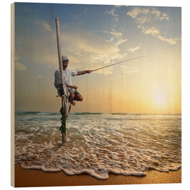Wood print  fisherman on stick on Indian ocean, Sri Lanka