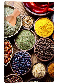 Canvas print  Spices on a wooden table
