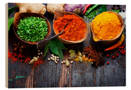 Wood print  Colorful spices diversity