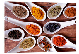 Acrylic print  Spices in ceramic bowls