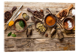 Acrylic print  Spices and kitchen utensils