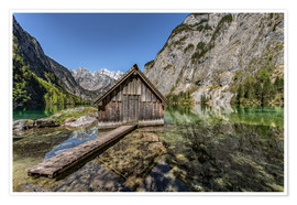 Premium poster Boathouse at the lake, Bavaria