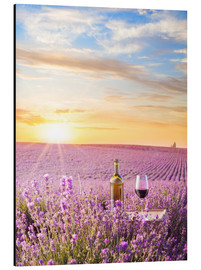 Aluminium print  Bottle of wine in a lavender field